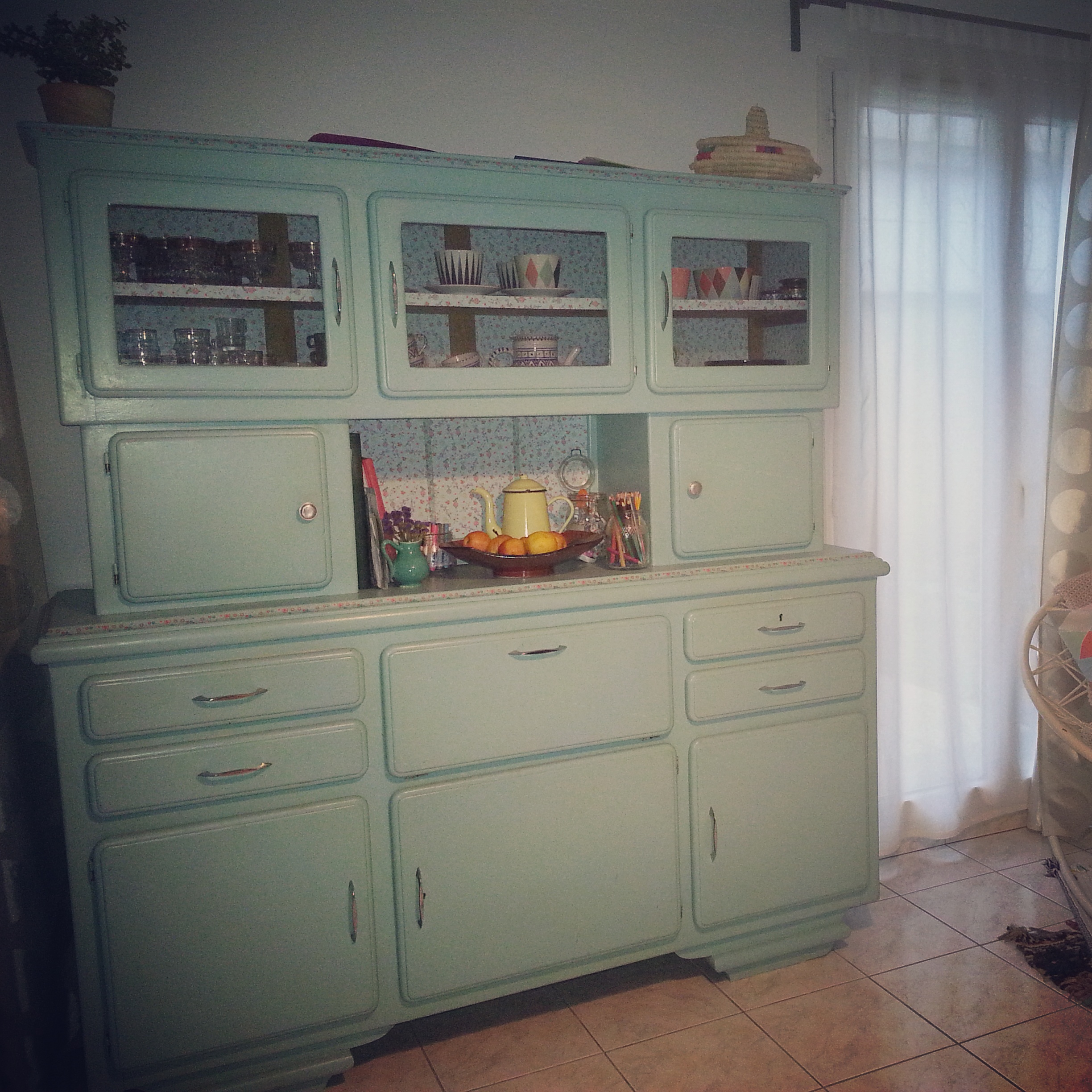 Buffet vintage ann e 1950 1960 turquoise for Cuisine 50 s