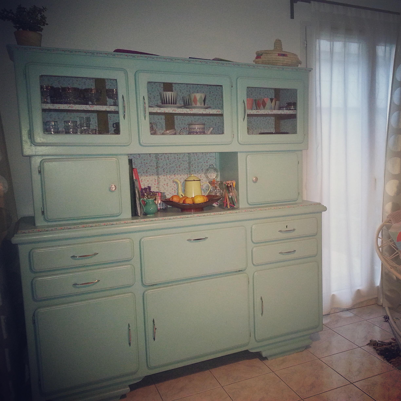 Buffet vintage ann e 1950 1960 turquoise for Buffet de cuisine annee 1950